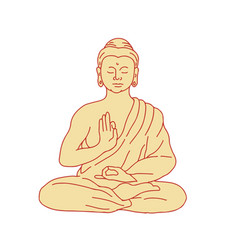 Gautama buddha sitting lotus position drawing vector