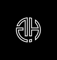 gh monogram logo circle ribbon style outline vector image