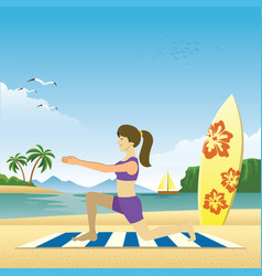 girl do yoga on beach vector image