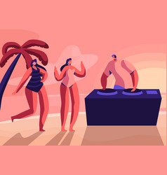 girls wearing swim suits and sun glasses dancing vector image