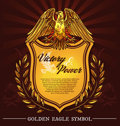 Golden hearldic eagle shield and laurel vector