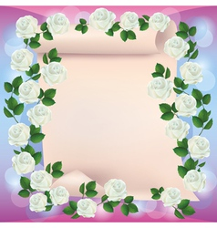 Greeting or invitation card with paper and roses vector image