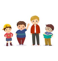 Group cute little boys vector