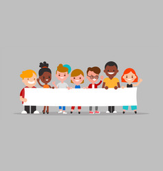 group diverse people holding blank white vector image