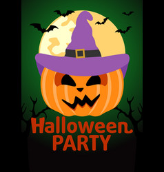 halloween party banner with pumpkin vector image