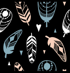hand drawn pattern with abstract feathers vector image