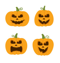 happy funny cute and scary halloween pumpkin set vector image