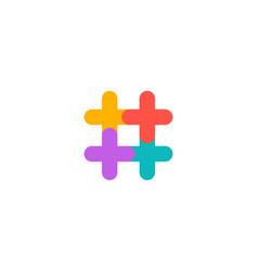 hashtag symbol cross plus logo icon design vector image