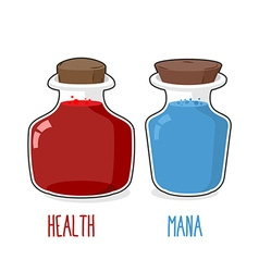 Health and mana Magic bottle with blue and Red vector image