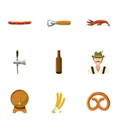 Holiday of beer icons set cartoon style vector