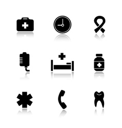 Hospital drop shadow icons set vector image