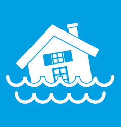 House sinking in a water icon white vector