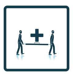 Icon of football medical staff carrying stretcher vector
