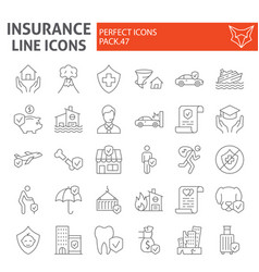 insurance thin line icon set healthcare symbols vector image