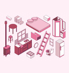 Isometric furniture for little tiny house vector
