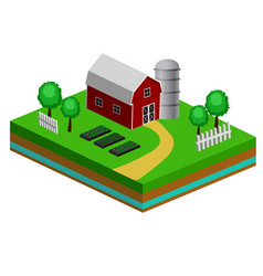 Isometric red barn and trees cows vector