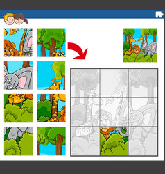 Jigsaw puzzle game with comic wild animal vector