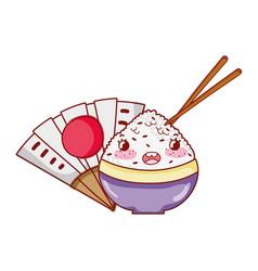 kawaii rice in bowl sticks food fan japanese vector image