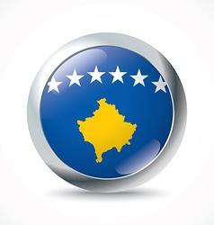 Kosovo flag button vector image