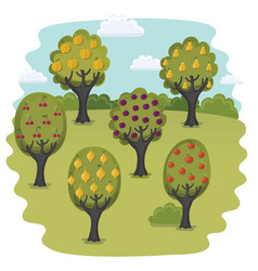 landscape orange trees vector image