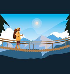 Man crossing bridge mountains landscape vector