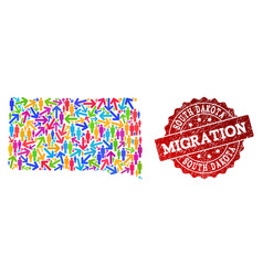 Migration collage of mosaic map of south dakota vector