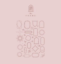 modern frames and elements rose beige vector image