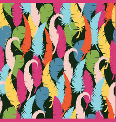 Multicolored feathers on a black background vector
