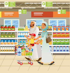 Muslim family shopping cartoon concept vector