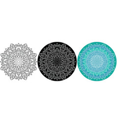 natural mandala of circles for coloring book vector image