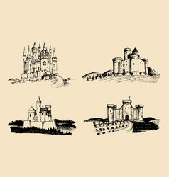 Old castles set hand drawn vector