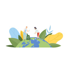 people cleaning earth planet from plastic vector image