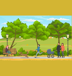people on a walk in autumn city park young family vector image