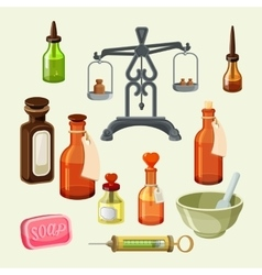 Pharmaceutical apothecary elements set Realistic vector image