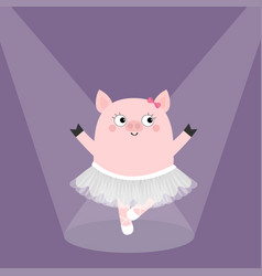 Pig bellerina dancing illuminated spotlights vector