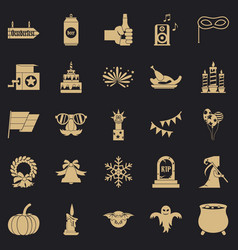 Relaxed pastime icons set simple style vector