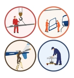 Repair and maintenance of helicopter vector image