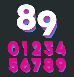 Retro number 0 1 2 3 4 5 6 7 8 9 gradient vintage vector