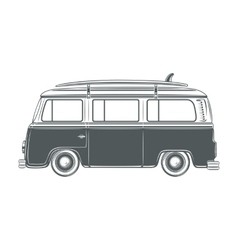 Retro vintage travel camper van with surf vector image