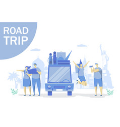 road trip concept for web banner website vector image