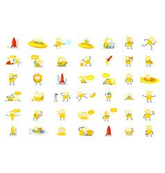 robots big set character yellow color version vector image