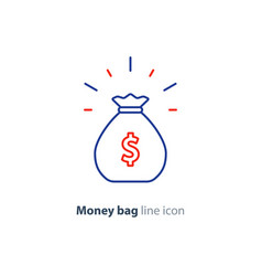 Sack of money finance saving award prize mono line vector