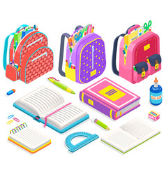 satchels with school supplies books and pencils vector image