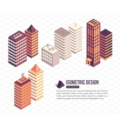 set isometric tall buildings for city building vector image
