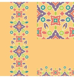 Set of colorful shapes seamless pattern and vector image