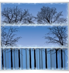 Set of forest banners vector