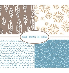 Set og hand-drawn simple seamless patterns vector image