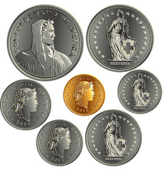 Set swiss money francs coins vector