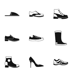 Shoes icons set simple style vector image
