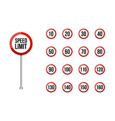 Speed limitation road sign setrounded road vector